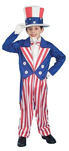 Uncle Sam Kids Costumes (Boys Uncle Sam School Program Kids Child Fancy Dress Party Halloween Costume, L (12-14))