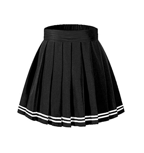 Beautifulfashionlife Women's Schoolgirl's Outfit Costume Lingerie Mini Skirt Black with White Ribbon,XL]()
