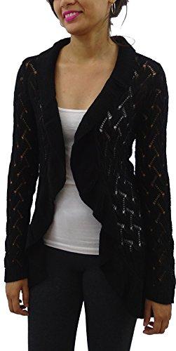 Serendipity Women's Ruffle Trim Pointelle Cardigan (Medium, Black) (Trim Pointelle Sweater)