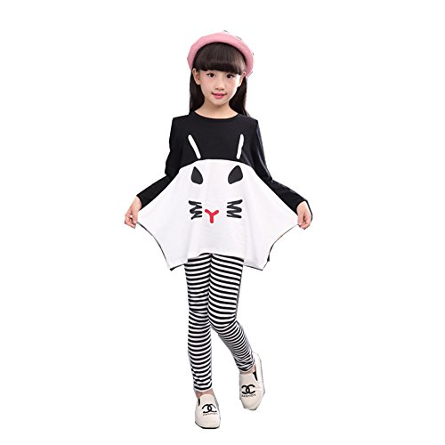 FTSUCQ Girls Cartoon Cat Shirt and Striped Leggings Pants, Two-piece Sets,Black 120 (Cute 11 Year Old Guys)