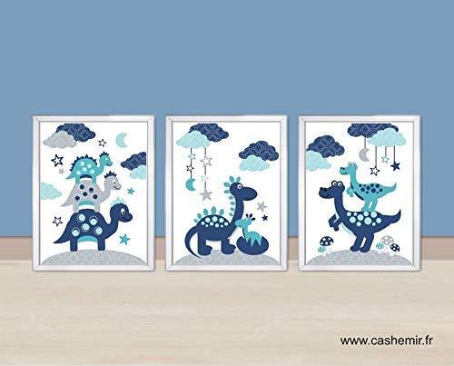 Illustration Chambre Bebe Garcon Affiche Enfant Dinosaure Bleu