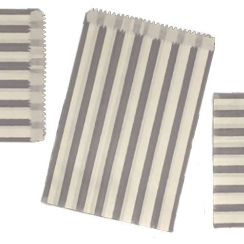 200 SMALL Grey & WHITE STRIPE PAPER BAGS SIZE 5 X 7 CANDY SWEET GIFT JeeJaan®
