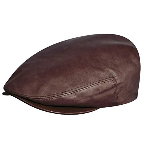 Kangol Men's Heritage Collection Luxurious Italian Leather Cap, Tobacco (Large)