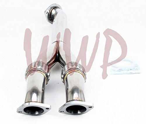 (Stainless Steel Performance Racing Catless Turbo Down Y Exhaust Pipe For 09-16 Nissan GTR V6)