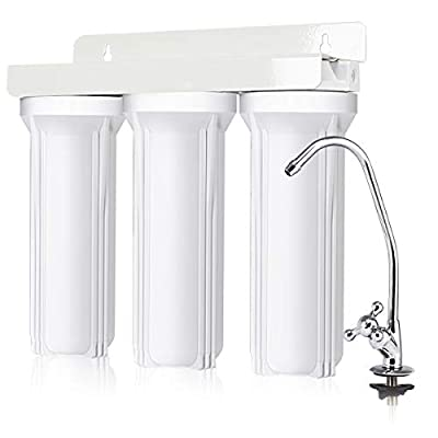 COSTWAY 3-Stage Under-Sink Water Filter System Water Filtration System with Faucet High Capacity Water Filtration System without Tank for Purified and Healthy Water Including Sediment, Granular Carbon