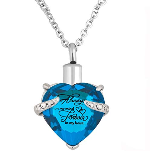 Heart Cremation Urn Necklace for Ashes Urn Jewelry Memorial Pendant with Fill Kit and Gift Box - Always on my mind forever in my heart (Sky blue)