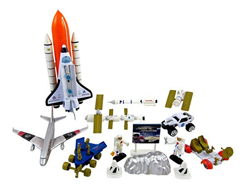 Mission to Mars Space Shuttle Playset for Kids with Rockets, Satellites, Rovers & Vehicles