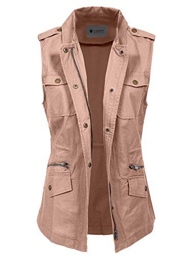 J. LOVNY Women's Lightweight Sleeveless Military Anorak Vest by J. LOVNY