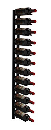 Straight Peg Wall Mounted Wine Racks by Ultra Wine Racks, Modern, Cellar, Cabinet, Stainless Steel Racking, 4ft 12 Bottle Display (Black Satin) by Ultra Wine Racks & Cellars