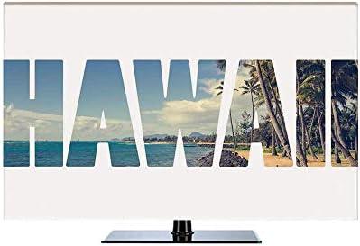 TVカバー tvケース レビカバー 防塵カバー 43Vのテレビに適用 液晶カバー アイマック テレビ ハワイアンデコレーション トロピカルアイランド写真エキゾチックな人気のある場所でハワイの言葉