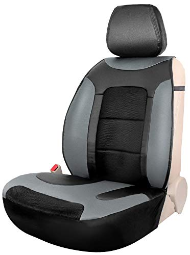 Seaton Black One Leather Sideless Front Seat Cover Cushion for Car Trucks SUV - Leader Accessories