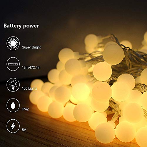 Fairies Scrub - Emptystar Garden LED Lights - 2M 10LED Scrub Round Ball Lights Outside String Fairy Lights Battery Powered Waterproof Night Lamp for Hiking Camping Indoor/Outdoor Home Party Decor (Yellow)