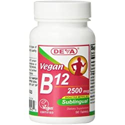 Deva Nutrition Vegan Sublingual B-12 Tablets, 2500 mcg, 90 Count by Deva Nutrition