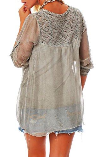 malito Blusa Seda 3/4 Túnica Parte Superior Top Oversized 6705 Mujer Talla Única oliva