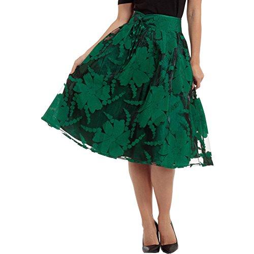 Voodoo-Vixen-Jasmine-Floral-Organza-Flare-Skirt-Green