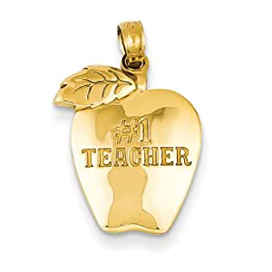14k Gold #1 Teacher Apple pendant, Gorgeous Pendants for Necklace, Women Jewelry
