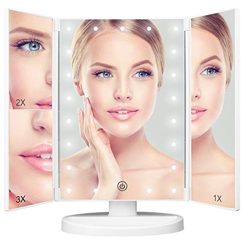 Lighted Makeup Vanity Mirror, 2X/3X/1X Magnification, 21 Led Lights Cosmetic Mirror with -