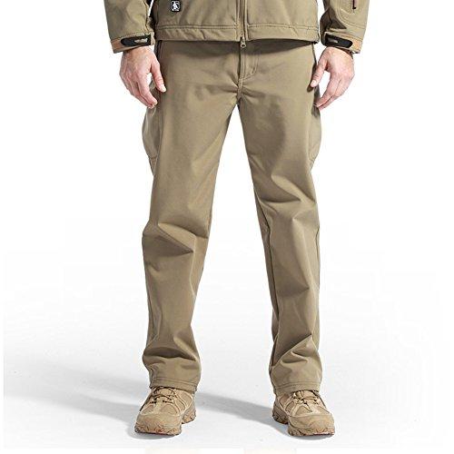 FREE SOLDIER Men Outdoor Sharkskin Fleece Lining Soft Shell Pants Winter Skiing Warm Trousers (Wolf brown M)