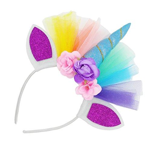 Loveyal Little Girls Layered Rainbow Tutu Skirts with Unicorn Horn Headband (Lake Blue, L,4-8 Years) by Loveyal (Image #1)
