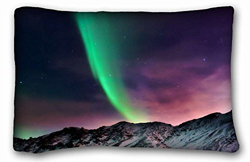 Soft Pillow Case Cover ( Nature Landscapes landscapes nature aurora borealis ) Pillow Cushion Case Cover One Sides Printed 20x30 Inches suitable for X-Long Twin-bed PC-Bluish-39690 (Aurora King Bed)