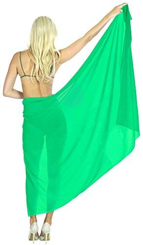 LA LEELA Sheer Chiffon Swimsuit Tie Slit Skirt Sarong Solid 76