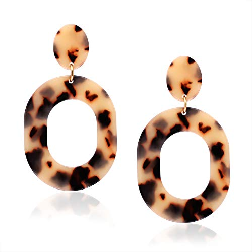 MOLOCH Acrylic for Women Geometry Resin Drop Dangle Earrings Bohemia Tortoise Shell Hoop Earrings Mottled Statement Stud Earrings Fashion Jewelry (N-Leopard) ()