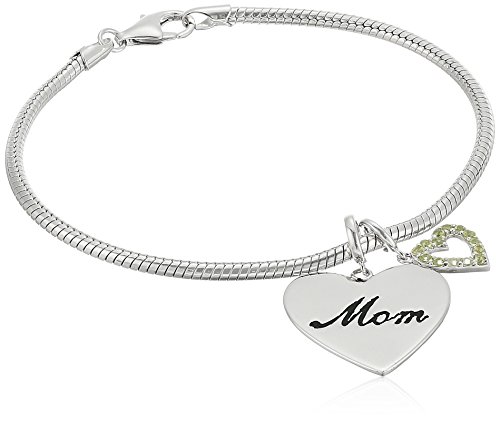 Rhodium Plated Sterling Silver Mom and Peridot Heart Dangled Charm Bracelet, - Sterling Charm Peridot Silver