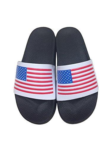 24P Women's Unisex Open-Toe No-Slip Waterproof USA Flag Comfort Slippers Sandals (6.5, White)