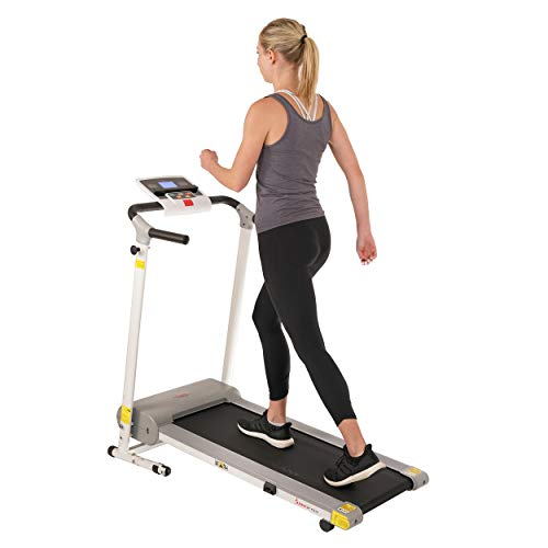 Sunny Health & Fitness Electric Walking Folding Treadmill with LCD Display and Tablet Holder, 220 LB Max Weight