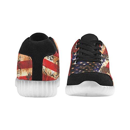 Bandiera Americana Di Interesse Stampa Scarpe Da Ginnastica Lampeggianti Scarpe Basse Casual Da Donna