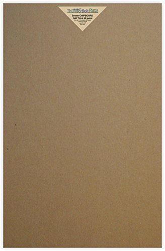 25 Sheets Chipboard 46pt (point) 12 X 18 Inches Heavy Weight Large Size .046 Caliper Thick Cardboard Craft|Packaging Brown Kraft Paper Board by ThunderBolt Paper