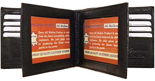 AG Wallets Men's Bifold Leather Wallet With Double Center Flap / 3 ID Windows