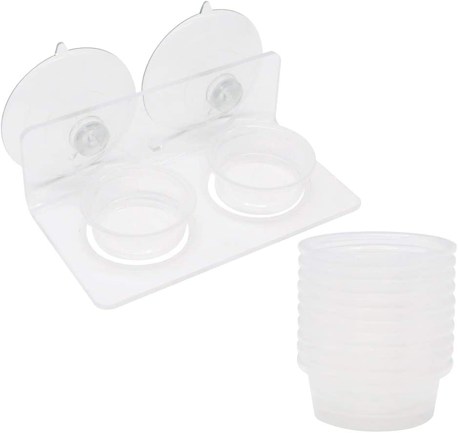 SLSON Gecko Feeding Ledge Reptile Acrylic Feeder with Suction Cup for Food and Water with 20 Pack Plastic Cups 0.5Oz, Clear