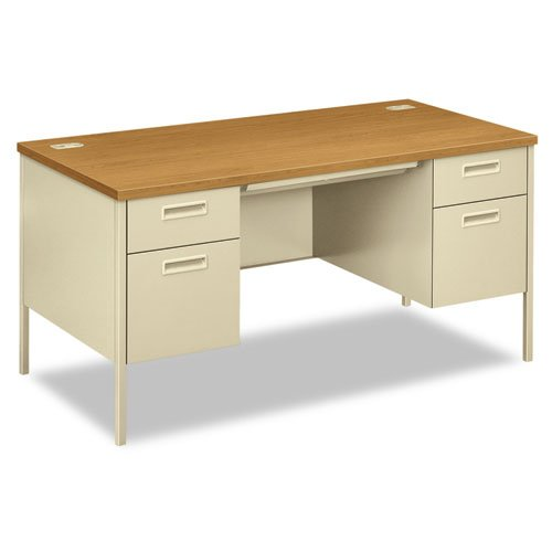 Hon Metro Classic Double Pedestal Desk With 2 Box 2 File Drawers And Putty Finish  60   Harvest