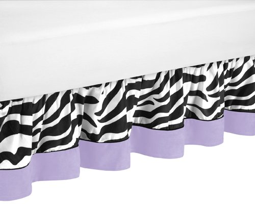 Purple Funky Zebra Bed Skirt for Toddler Bedding Sets by Sweet Jojo Designs Funky Bedskirt