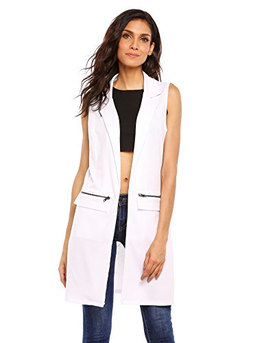 Beyove Women's Sleeveless Zip Pocket Long Waistcoat Blazer Jacket Coat Top (Blazer Zip Pocket)
