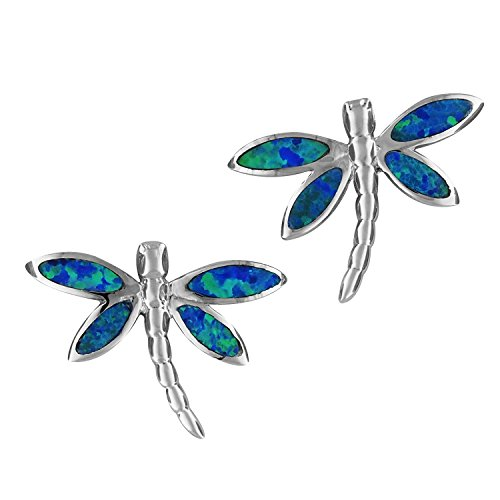 Sterling Silver Synthetic Blue Opal Dragonfly Stud (Dragonfly Stud Earrings)