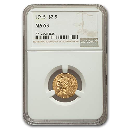 1915 $2.50 Indian Gold Quarter Eagle MS-63 NGC $2.50 MS-63 NGC
