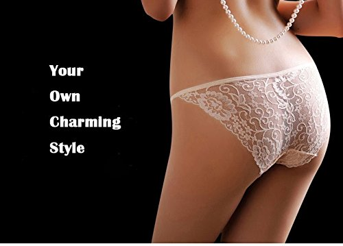 KHUFUZI Women\'s Sexy Translucent Lace Thong Low Rise G-String Underwear Briefs
