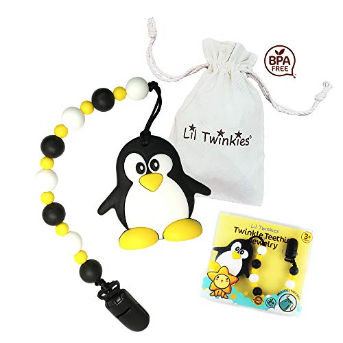 Lil Twinkies BPA Free Silicone Teether with Pacifier Clip, Happy Penguin, Gum Soother, Stylish Toy for Teething Baby, Freezer Safe