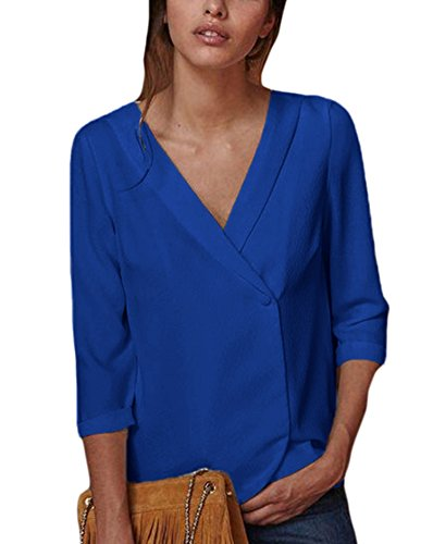 Sidefeel Women Button Back V Neck Blouse Casual Tops T-Shirt XX-Large Blue
