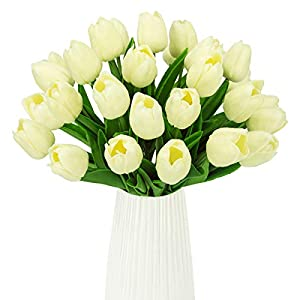 HANTAJANSS 30 Pcs Artificial Tulip Fake Holland Mini Tulip Latex-Look Like Real Touch Flowers Eco-Friendly for Wedding Decor DIY Home Party Decoration Gift Pack 81