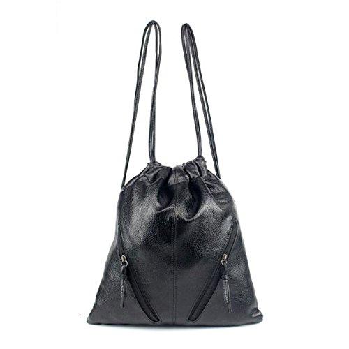 JD Million shop New Women Shoulder Bag Cool PU Leather Drawstring Backpack Black Mochila 11S60928 drop shipping