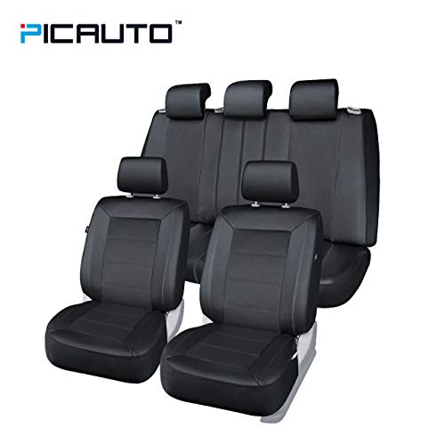 (PIC AUTO Universal Fit Full Set Mesh and Leather Car Seat Cover(Black))