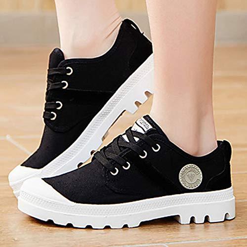 Polyuréthane Femme Plat EU40 UK7 Confort Chaussures Talon Lacet Chaussures Black Printemps Automne Semelles D'athlétisme TTSHOES Légères Rond US9 Marche Bout CN41 AEwdq1nd