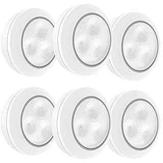 LUXSWAY 6 Pack Battery Closet Lights, Dimmable Tap Lights, Wireless Puck Lights, Stick on Under Cabinet Lighting, Dimmable Safe Lighting for Keyhole Closet Stair Kitchen Cabinet-Warm White