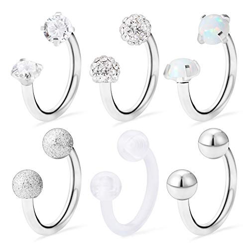 Ocptiy 6PCS 16G Stainless Steel White Opal Crystal CZ Ball Nose Septum Horseshoe Earring Eyebrow Lip Helix Tragus Cartilage Piercing Ring for Mens Womens - Ring Eyebrow White