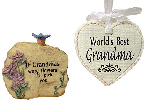 BANBERRY DESIGNS Grandma Stone - World's Best Grandma Ornament - Gift Set for Grandmother for Mother's Day - Small Garden Rock