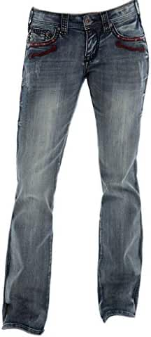 Cowgirl Tuff Western Jeans Womens Red Rodeo Leather Medium Wash JREDRD