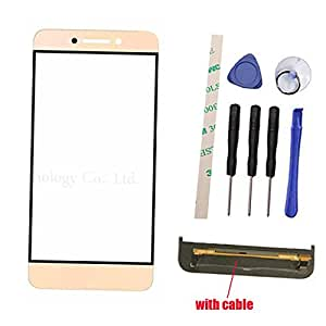"""Outer Screen Front Glass Lens Not Touch Screen Only With Button Light Cable Replacement For Letv LeEco Le Pro 3 Le Pro3 X720 5.5"""" (Not LCD Not Digitizer ) with Adhesive Preinstalled (gold)"""